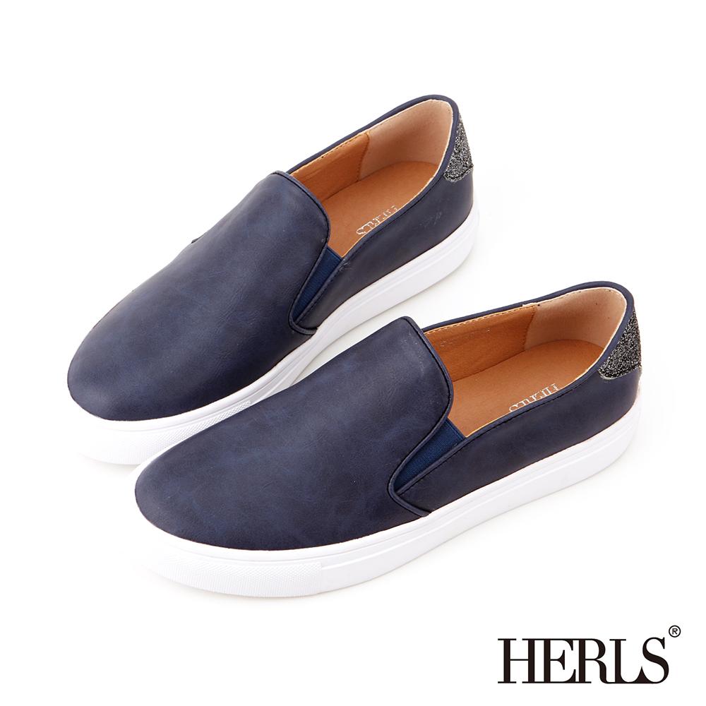 HERLS-街頭小心機後跟SLIP-ON懶人鞋-藍色