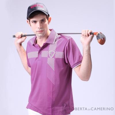 ROBERTA諾貝達 台灣製 修身版 獨特迷人短袖POLO棉衫 桃紫