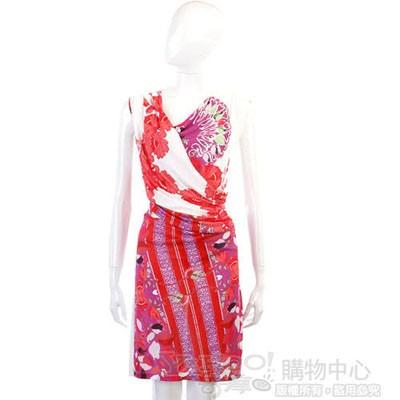 CLASS roberto cavalli 紫紅色印花交叉垂墜無袖洋裝