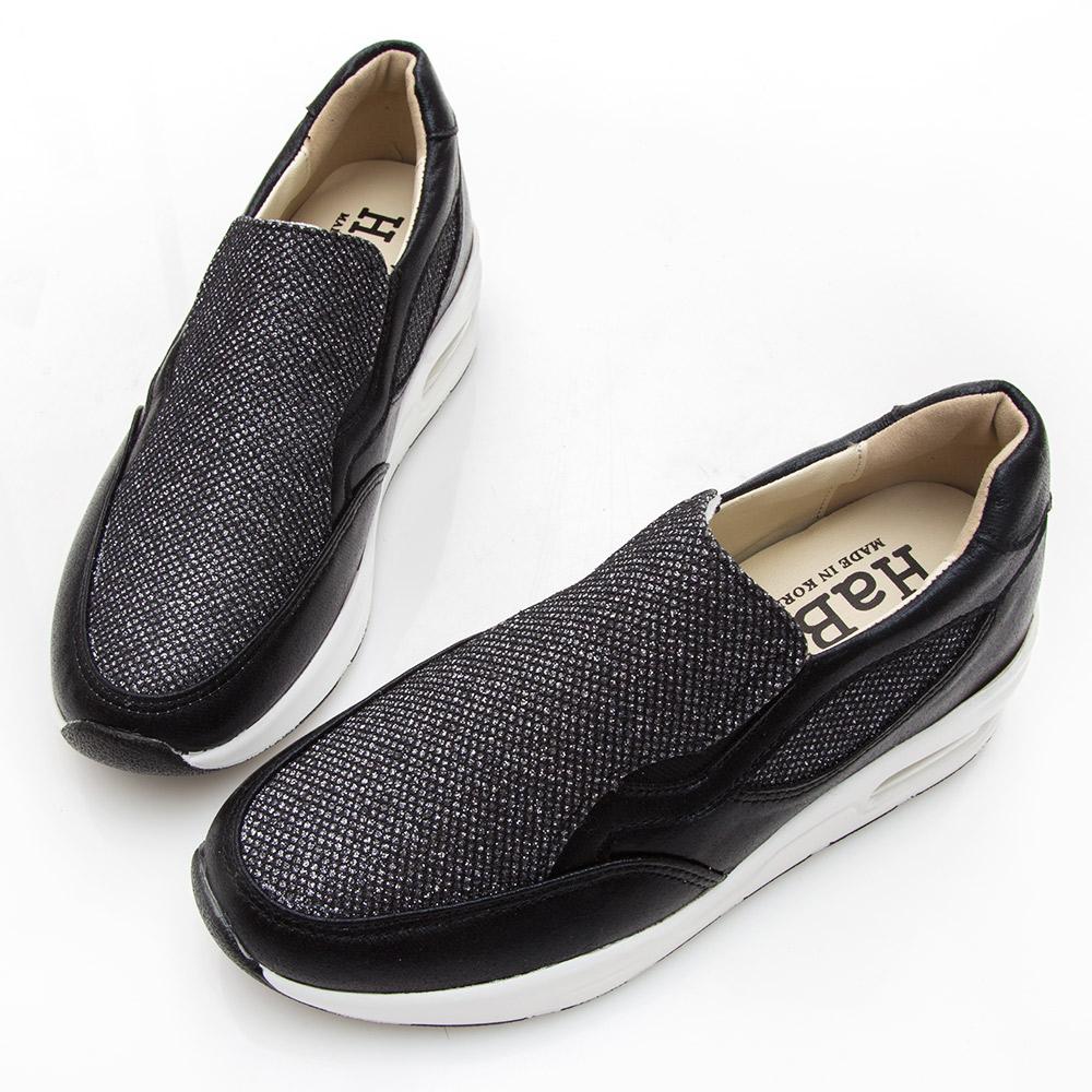 Camille's 韓國空運-正韓製-亮片拼接內增高運動休閒鞋-黑色