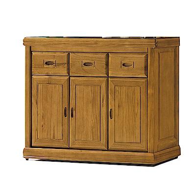 品家居 德貝4尺梧桐木實木玻璃餐櫃下座-119.4x43.8x82.2cm免組