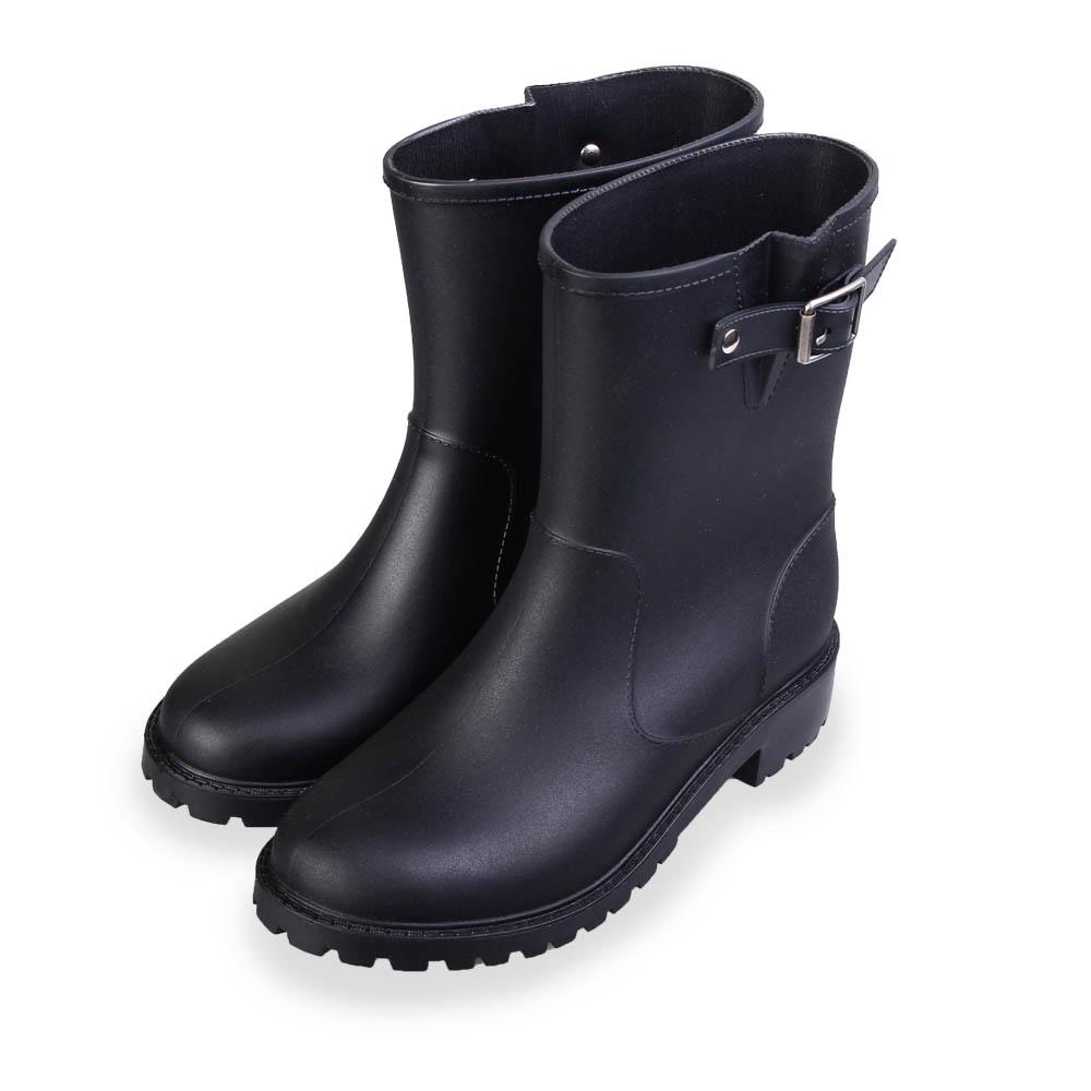 TTSNAP雨靴-簡約俐落舒適霧面皮革中筒防水靴 黑