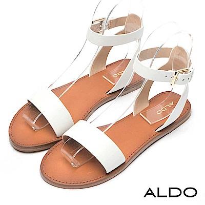 ALDO 原色真皮寬版金屬釦帶交叉繫踝木紋跟涼鞋~清新白色