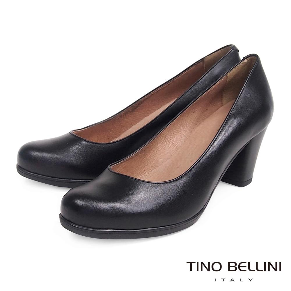 Tino Bellini 西班牙全真皮簡約典雅OL跟鞋_黑