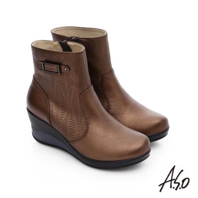 A.S.O 美型氣墊 圖騰拼接拉鍊飾釦奈米厚底短靴 古銅色
