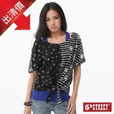 5th STREET 俏麗鮮明 星星印綁結短袖T恤-女款-黑灰