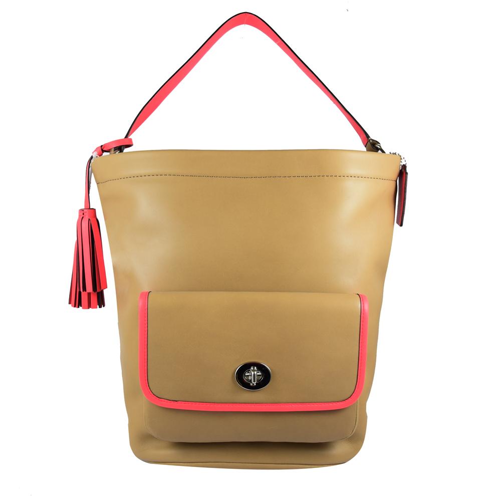 COACH LEGACY系列 撞色皮革流蘇吊飾水桶包.駝COACH