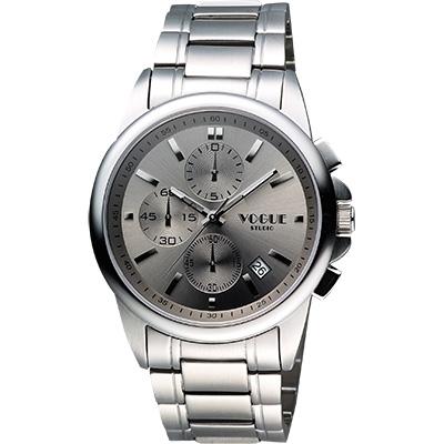 VOGUE 嶄新系列三眼計時腕錶-銀灰/40mm
