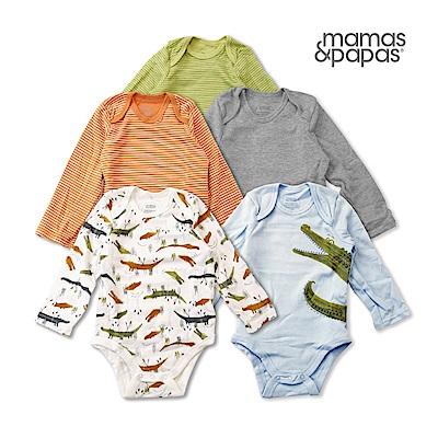 Mamas & Papas 扣扣呆鱷魚-長袖包屁5件組