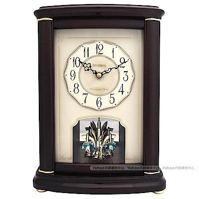 RHYTHM麗聲 典雅實木烤漆水晶鐘擺報時座鐘/31cm