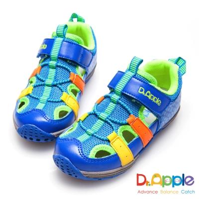 Dr. Apple 機能童鞋 活力青春印花超透氣涼童鞋-藍