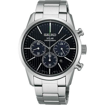 SEIKO SPIRIT SOLAR 時尚玩家計時腕錶-黑/39mm