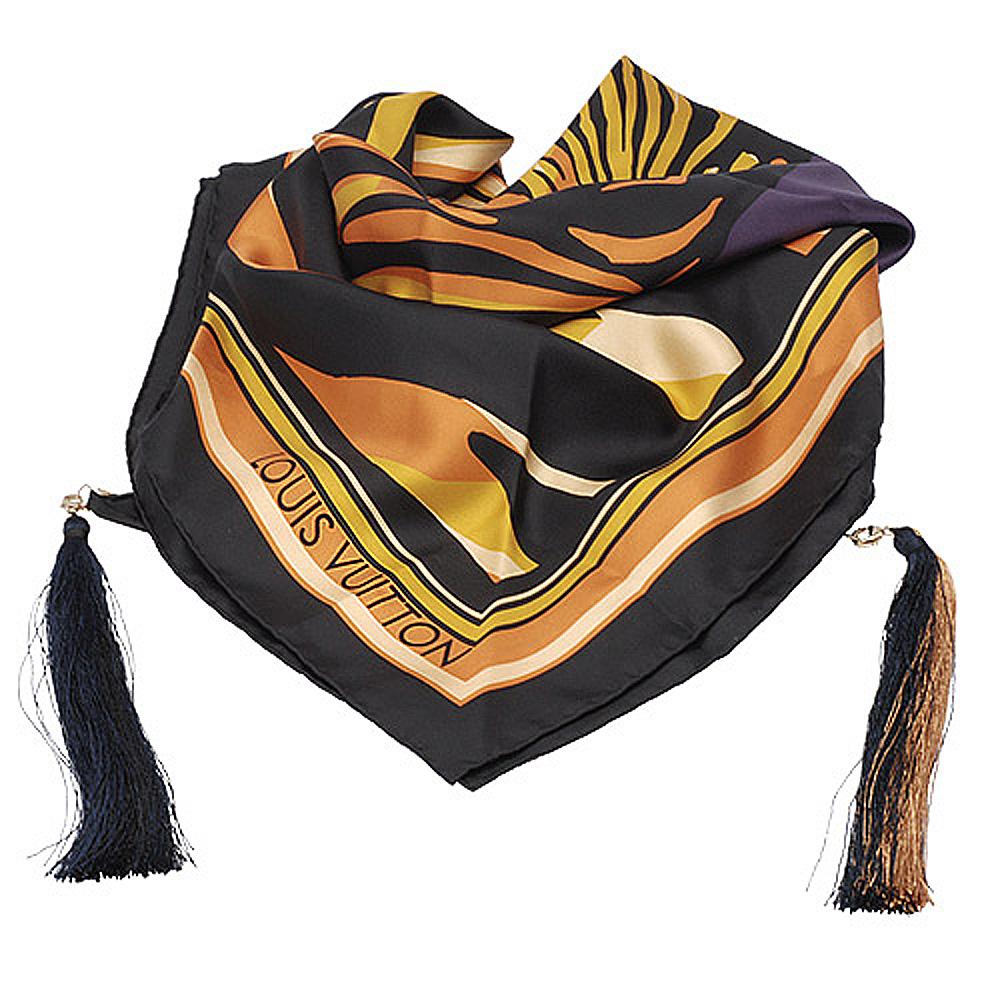 LV  M72912 Pompon Carre 斑馬紋彩繪流蘇絲巾