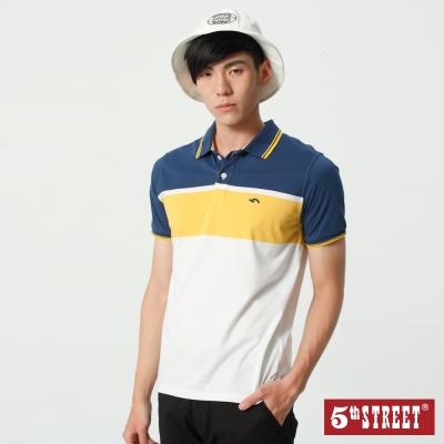 5th STREET 大色塊涼感條紋POLO衫-男-灰藍色