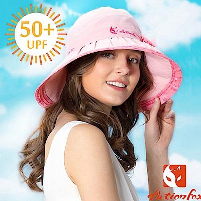 【挪威 ACTIONFOX】女新款 抗UV透氣帽簷蝴蝶結遮陽帽_粉紅