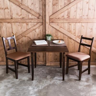CiS自然行-單邊延伸實木餐桌椅組一桌二椅 74*98公分焦糖+深咖啡椅墊