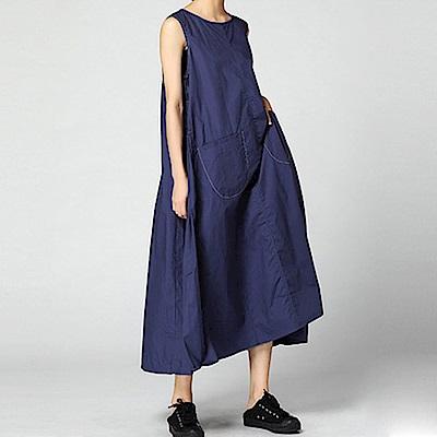 側抓皺寬擺雙袋無袖連身裙-(共二色)Andstyle