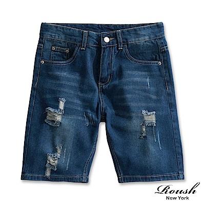 Roush 深藍水洗刷色牛仔短褲