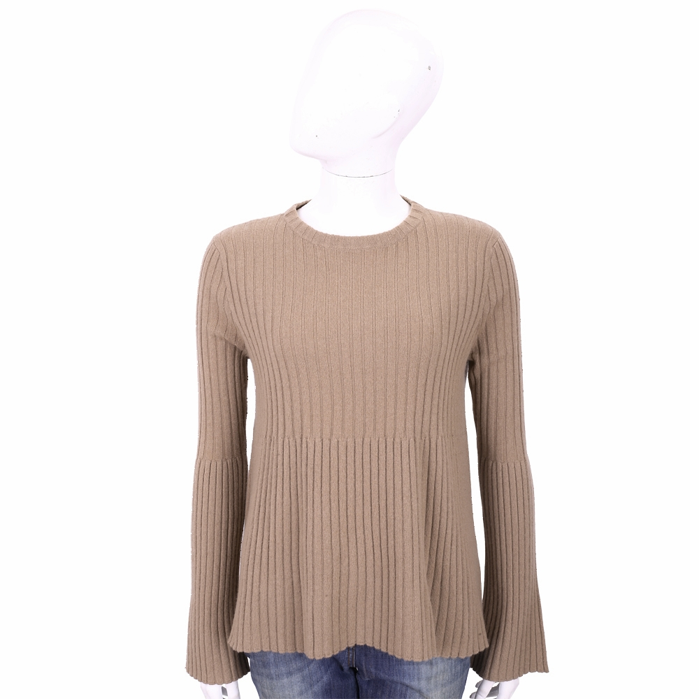 ALLUDE 100%喀什米爾可可色喇叭袖坑條針織羊毛衫