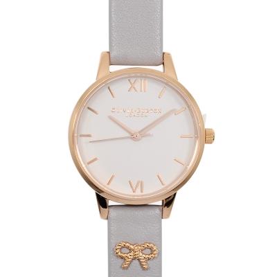 Olivia Burton 英倫復古手錶 3D立體蝴蝶墜飾真皮錶帶 玫瑰金x灰紫30mm