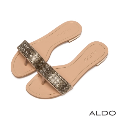 ALDO-閃耀星光布面一字滿鑽夾心涼鞋-迷情金色