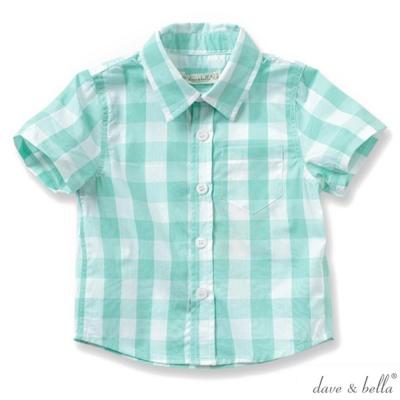 Dave Bella 湖水綠格紋短袖襯衫