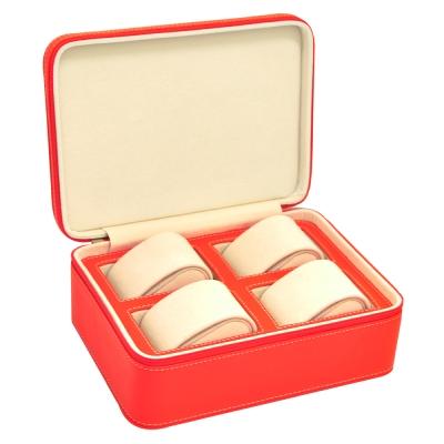 WISH 真皮手錶收藏盒/外出盒/隨行收納盒‧錶枕式4只裝(橘)