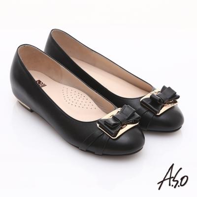 A.S.O 輕透美型 真皮金屬結飾內增高平底鞋 黑