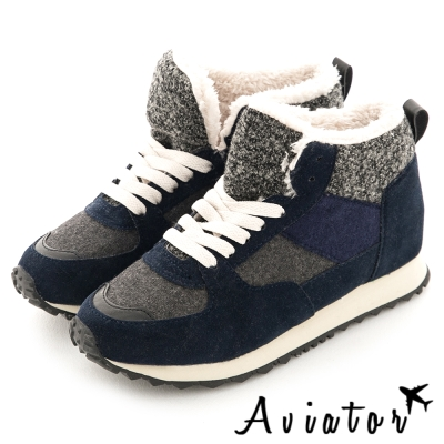 Aviator*韓國空運-正韓製三色異材質接拼毛毛休閒增高鞋-深藍