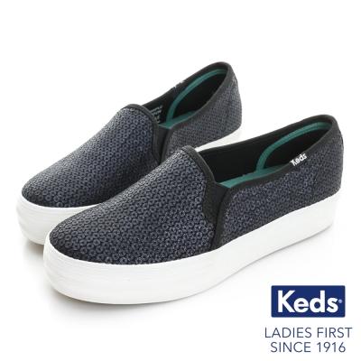 Keds TRIPLE DECKER 奢華亮片厚底休閒便鞋-海軍藍