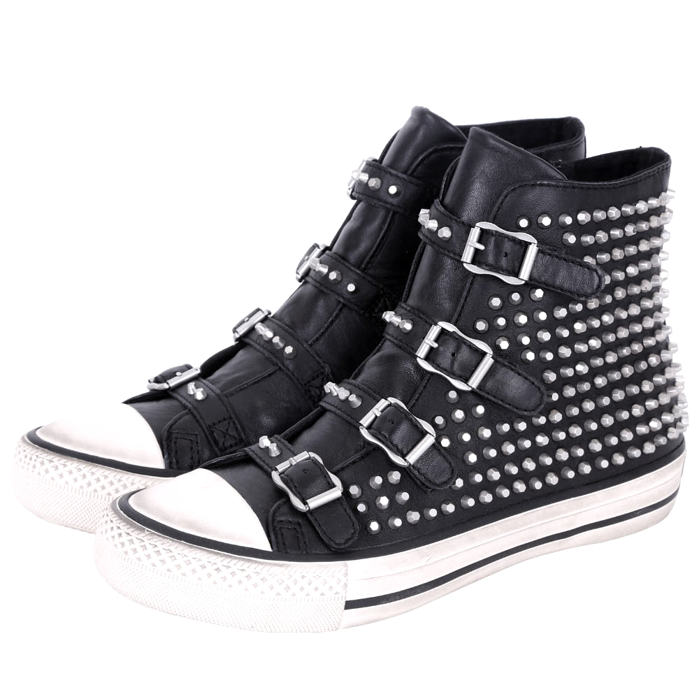 ASH VICIOUS 鉚釘釦帶高筒休閒鞋(黑色)