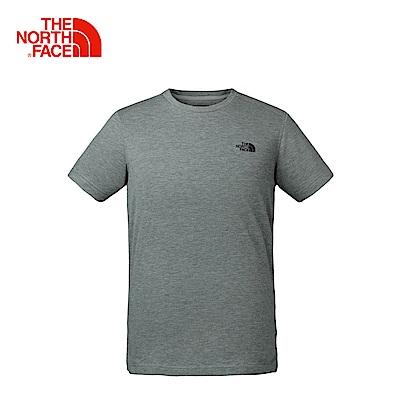 The North Face北面男款灰色吸濕排汗休閒短袖T恤