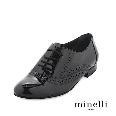 Minelli--葡萄牙製造 漆皮雕花平底牛津鞋-學院黑