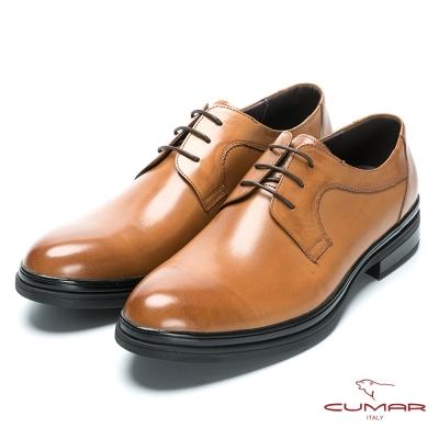 CUMAR 休閒皮鞋底 精選胎牛皮綁帶皮鞋-淺黃胎牛