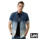 Lee-牛仔短袖漸層色襯袖-RG-男款-藍色