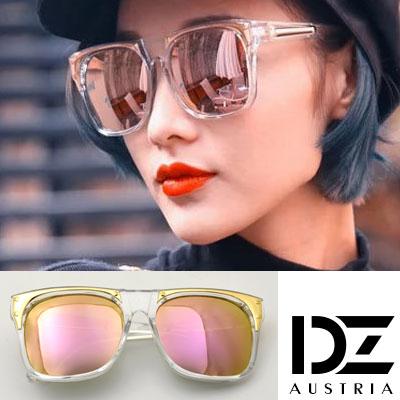 DZ 明星街頭 抗UV太陽眼鏡造型墨鏡(透框金粉膜)