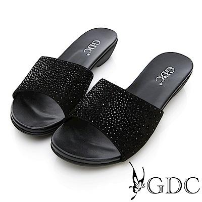 GDC-真皮水鑽典雅平底拖鞋-黑色