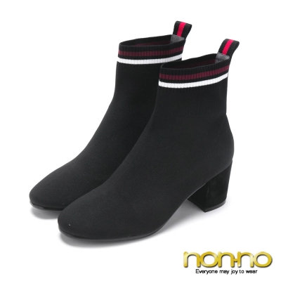 nonno極簡氣質顯瘦針織靴-黑