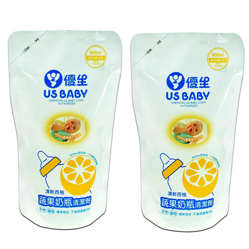 優生蔬果奶瓶清潔劑900ml補充包2入-柚香,再贈棉花棒)