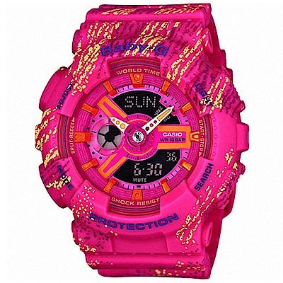 Baby-G 霧狀蠟筆紋個性運動錶(BA-110TX-4A)-桃紅/43.3mm