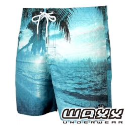 WAXX熱浪系列-藍色調快乾型男海灘褲(15英吋)