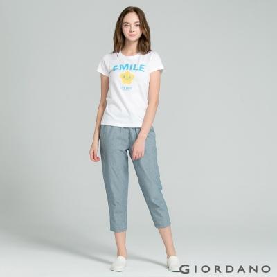GIORDANO-女裝英文口號休閒印花TEE-41-標誌白