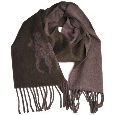 RALPH LAUREN POLO 大馬圖騰LOGO雙面義大利製羊毛圍巾(墨綠/可可亞色)