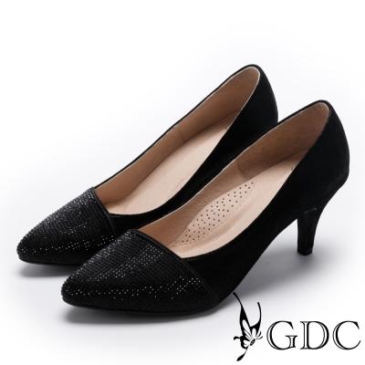 GDC-真皮典雅水鑽低跟尖頭鞋-黑色