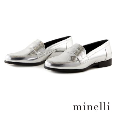 Minelli--率性樂福平底鞋-亮眼銀