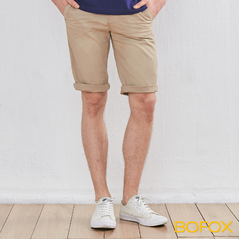 BOFOX 抓皺刷色休閒短褲-卡其