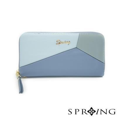 SPRING-真皮雙色幾何長夾/手拿包-清甜藍