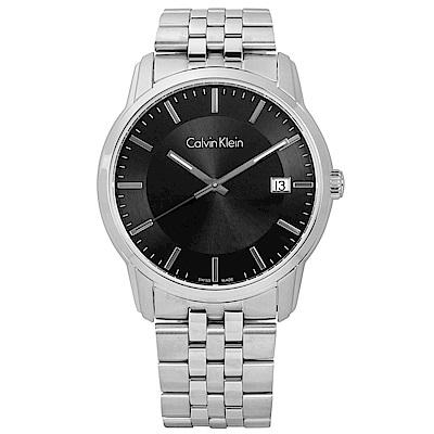 CK  典藏品味日期不鏽鋼手錶-黑色/41mm