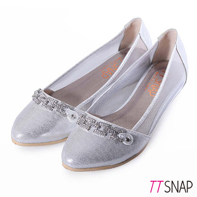 TTSNAP內增高-MIT方釦排鑽尖頭透膚網紗平底鞋 銀