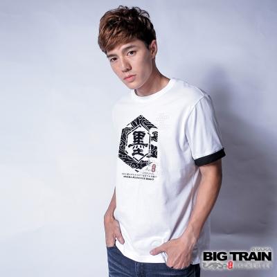 BIG TRAIN 墨文字五分袖T-男-白色